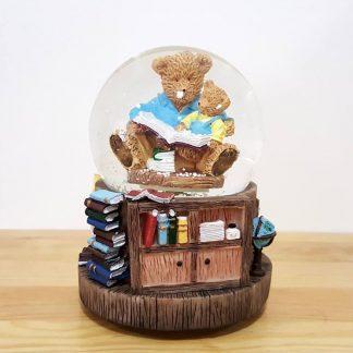 globo de neve snowglobe ursos a ler caixa de música