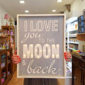 quadro i love you to the moon and back decoração