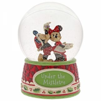 snowglobe disney traditions jim shore mickey minni mistletoe azevinho