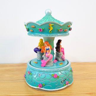 carrossel caixa de música globo de neve sereia