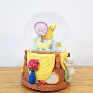 anjo snowglobe caixa de música globo de neve cão