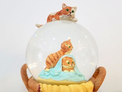 anjo snowglobe caixa de música globo de neve gato