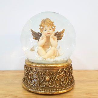 anjo snowglobe caixa de música globo de neve