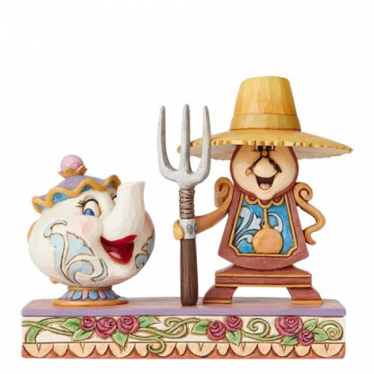 disney traditions jim shore lumiére plumette bela e o monstro mrs. potts cogsworth