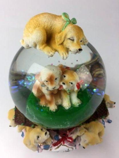 globo de neve snowglobe caixa de música cão