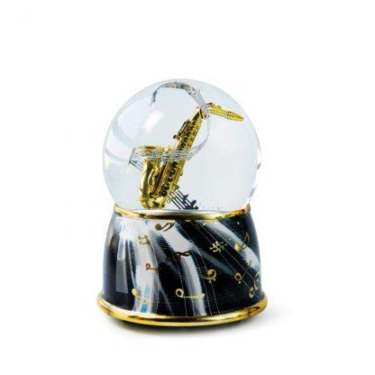 globo de neve snowglobe caixa de música saxofone