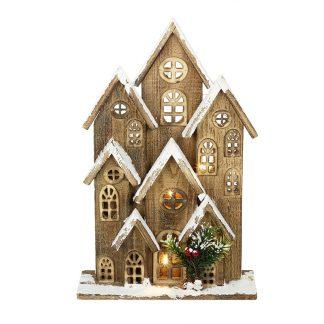 casinha de natal iluminação neve natal