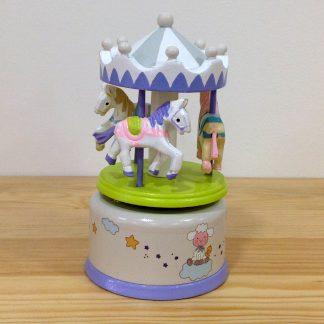caixa de música carrossel cavalo baptizado bebé