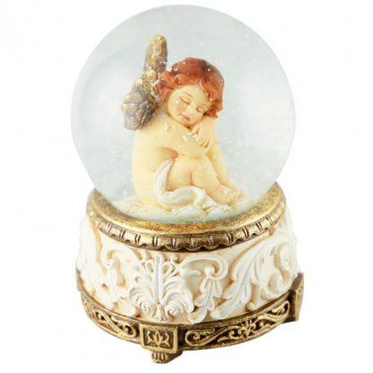 ave maria anjo sonhador globo de neve snowglobe