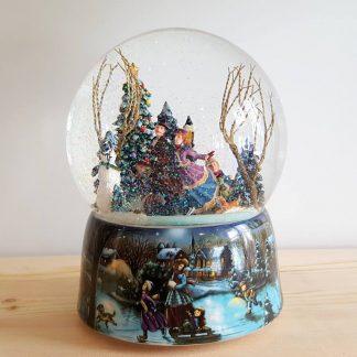 snowglobe caixa de música patinadores globo de neve natal