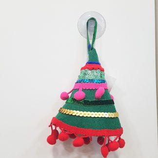 decoração pinheiro natal feltro pompons