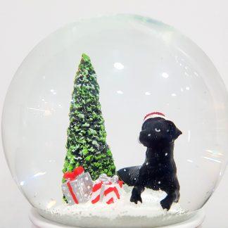 globo boneco de neve let it snow natal caixa de música cão preto labrador