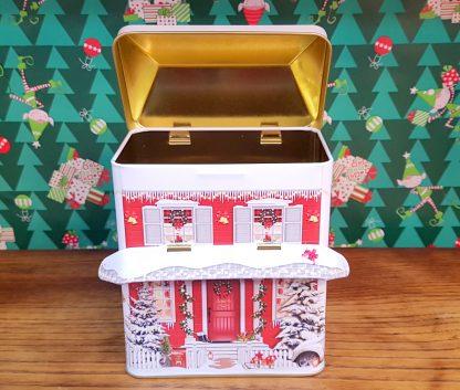 lata casa inverno natal silver crane colecção de latas
