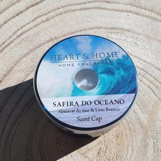 vela cup vidro heart and home safira do oceano soja