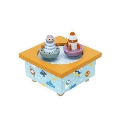 caixa de música bebé foguetão e astronauta