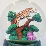 globo musical caixa de música globo de neve leopardo pantera selva