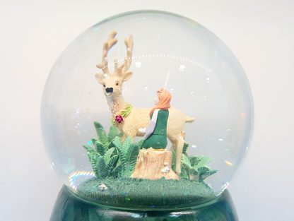 globo de neve caixa de música greensleeves alce floresta elfo fada