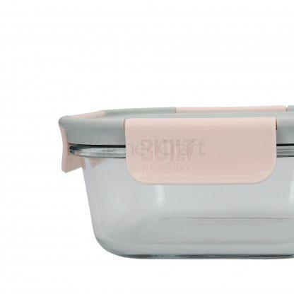 Marmita vidro 900ml com talheres de metal TROPICAL (coral e cinza)