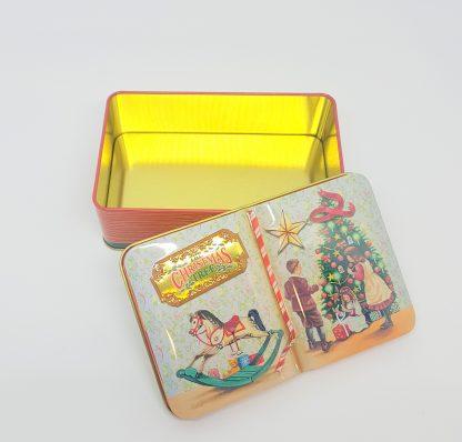 the silver crane lata livro de natal pinheiro tin