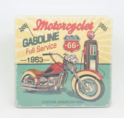 the silver crane lata tin motorcycles gas motos