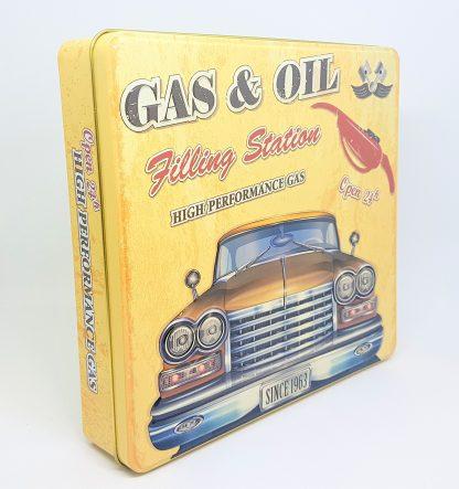 the silver crane lata tin gas & oil carro car