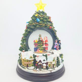 globo de neve pinheiro pai natal caixa de música