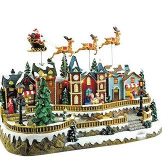 60069 caixa de música aldeia de natal santa claus