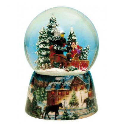 trenó neve pai natal snowglobe globo de neve caixa de música