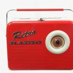 radio retro vintage red vermelho silver crane tin lata