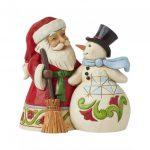 Santa with Snowman Pint Sized Figurine 6009004 heartwood creek pai natal boneco de neve
