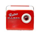 """Cookie Radio Red"" tin cookie jar Retro Design lata rádio retro silver crane"