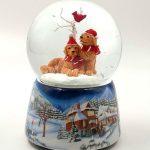 snowglobe sleigh globo de neve natal trenó caixa de música 58041 pai natal teddy cardinal cães